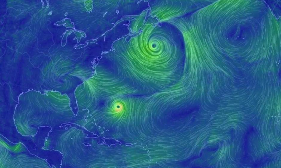 The current state of wind currents around the world. Hurricane Jose can be seen at the center of the image; the remnants of Irma can be seen just north of Florida. Image: EarthWindMap