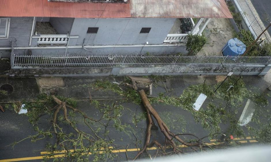 Damage in the Miramar neighborhood is seen from inside the Ciqala Hotel as Hurricane Maria bears down September 20, 2017 in San Juan, Puerto Rico. Photo: Alex Wroblewski, Getty Images