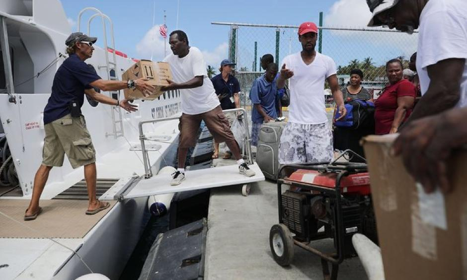 Supplies for those affected by Hurricane Irma in St. Thomas were loaded onto a boat in Christiansted, St. Croix, on Sunday. Photo: Chip Somodevilla, Getty Images