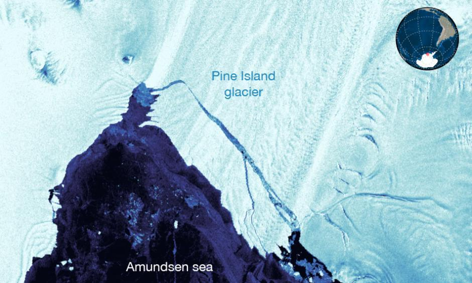 The Pine Island Glacier calves 100 square miles of ice. Image: Stef Lhermitte