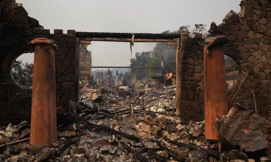 The remains of the fire-damaged Signarello Estate winery after an out of control wildfire moved through the area on Oct. 9, 2017 in Napa, Calif. Photo: Justin Sullivan, Getty Images