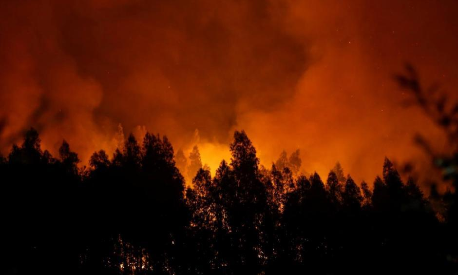 Smoke and flames from a forest fire are seen near Lousa, Portugal, October 16, 2017. Photo: Pedro Nunes, Reuters