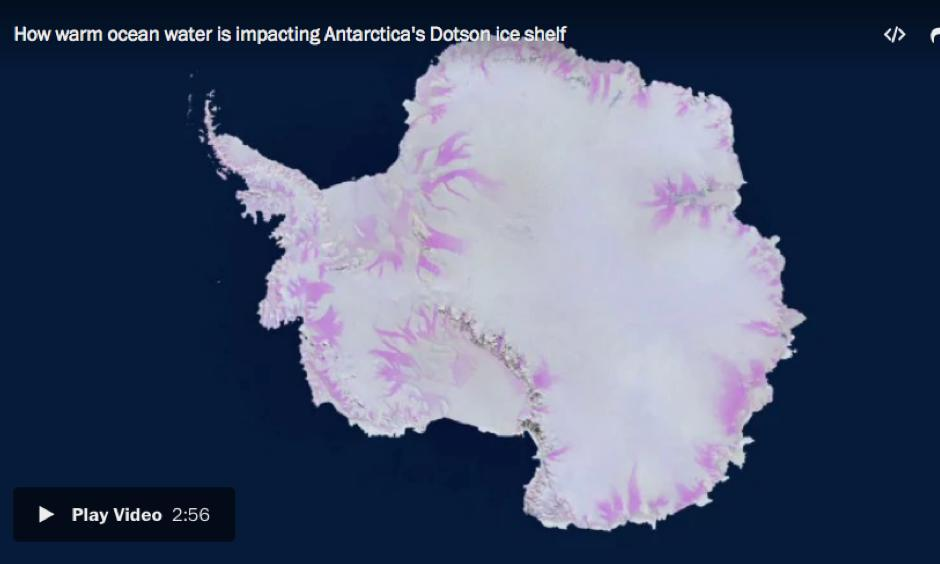 Warm bottom ocean water is entering the cavity under Antarctica's Dotson ice shelf and is stirred by Earth's rotation, causing one side of the ice shelf to melt. Image: ESA/University of Edinburgh–N. Gourmelen/Planetary Visions