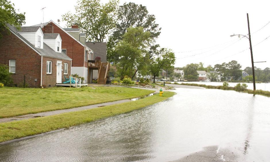 Some of the homes in Norfolk's Larchmont-Edgewater neighborhood have been raised as flooding has become more common during high tides. Photo: Nicholas Kusnetz