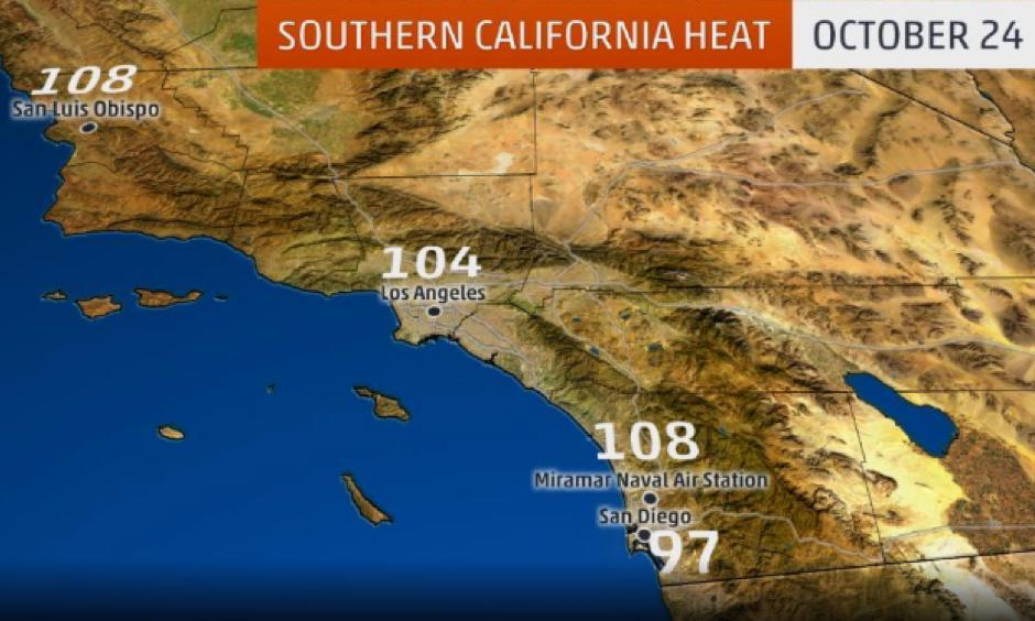 Select high temperatures in Southern California from Oct. 24, according to National Weather Service data. Image: The Weather Channel