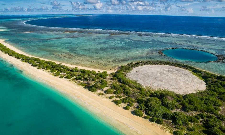 The dome on Runit Island with a crater left behind by another nuclear test. Photo: Greg Nelson, ABC News (Australia)