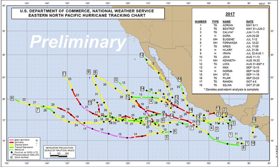 Preliminary track map for the 2017 Eastern Pacific hurricane season. Image: NHC.