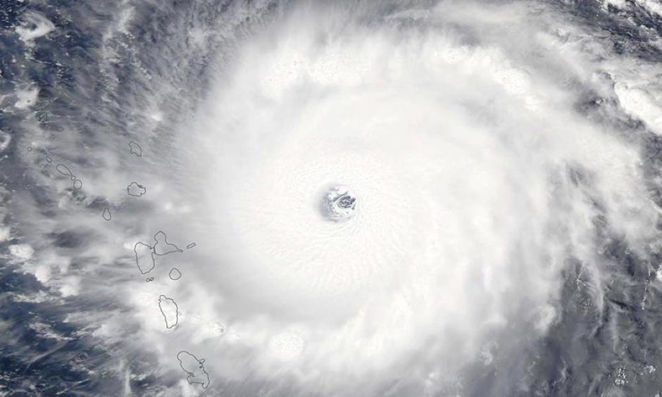 The strongest hurricane of 2017, Hurricane Irma, bears down on the Leeward Islands on September 5, 2017. At the time, Irma was at peak strength--a Category 5 storm with 185 mph winds. Image: NASA