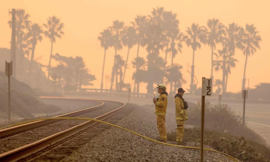 Firefighters in Ventura, California, an oceanside city in southern California where the wildfires hit hardest. Photo: Kyle Grillot, AFP/Getty Images