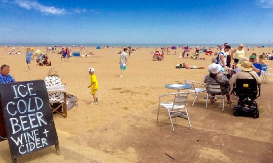 Skegness beach on the Lincolnshire coast has been packed with families enjoying the sun. Photo: BBC