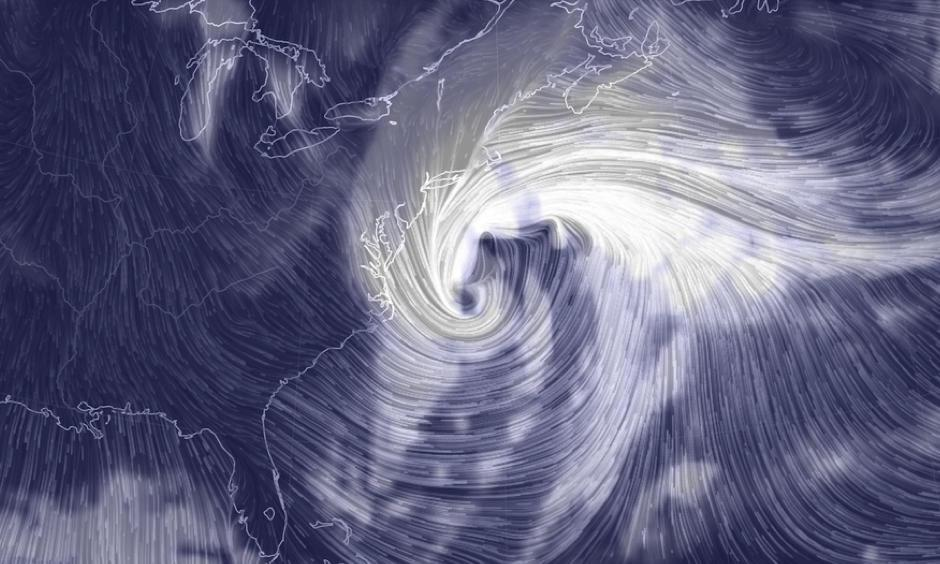 Computer model projection of the intense winter storm on Thursday, Jan. 4, 2018. Image:  earth.nullschool.net