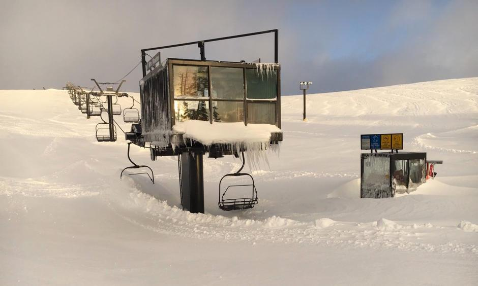 The snow is so high that it buried chairlifts and ski patrol shacks at Squaw Valley Alpine Meadows resort in California. Photo: Squaw Valley Alpine Meadows resort