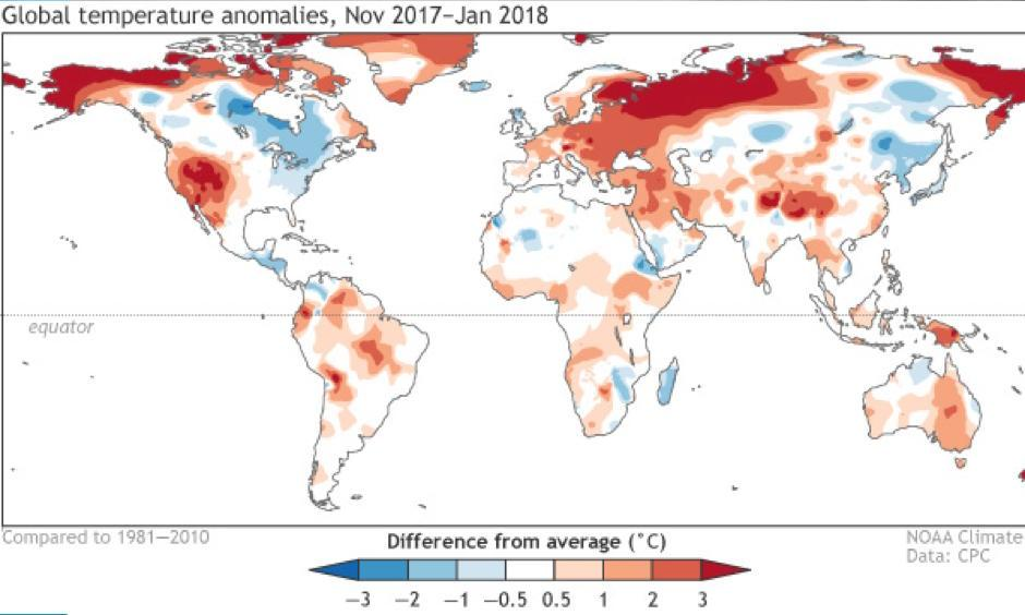 November 2017–January 2018 surface temperature patterns, shown as the difference from the long-term mean. Image: Climate.gov, CPC data