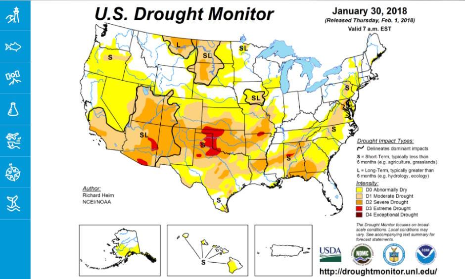 Map of the United States showing various categories of drought affecting different regions in January 2018. For details, please visit http://droughtmonitor.unl.edu. Image: Drought.gov