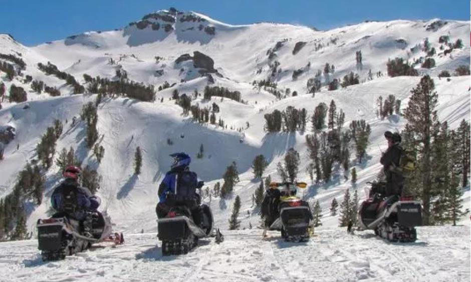 Mountainous terrain and stunning views make the Bridgeport Winter Recreation Area a popular snowmobile destination. Unfortunately for snowmobilers, the Forest Service closed the area to sledding on Feb. 13, 2018 because the snowpack is too thin to support the machines safely. It will reopen if snowpack increases. Photo: Jimmy Little, Mono County