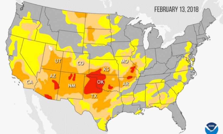 Yellow corresponds to abnormally dry, light orange to moderate drought, dark orange to severe drought, and red to extreme drought. Image: NOAA Climate.gov