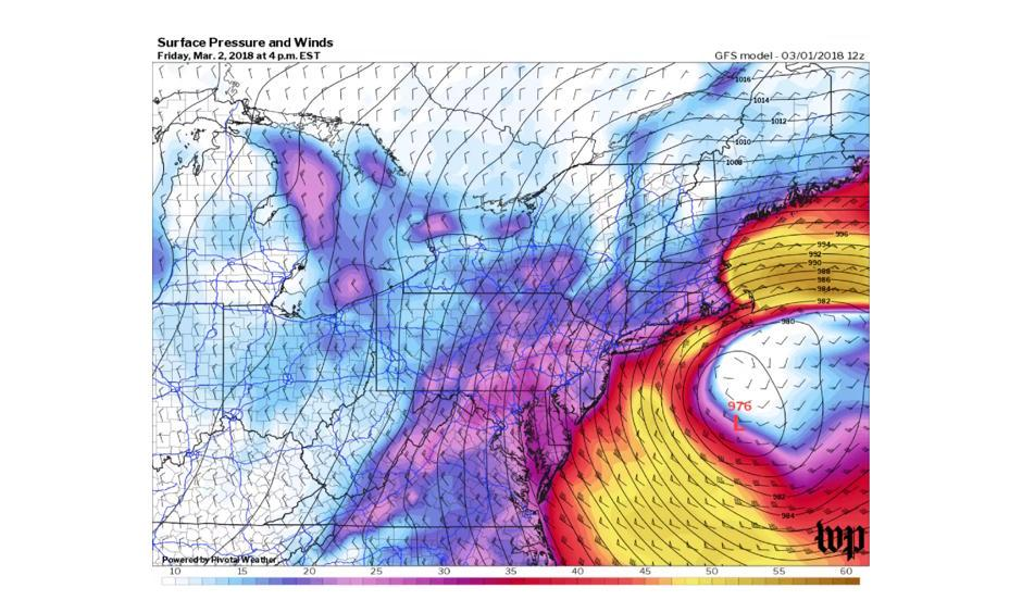 This storm will bring coastal flooding, damaging winds and snow to the Northeast on Friday and Saturday. Image: The Washington Post