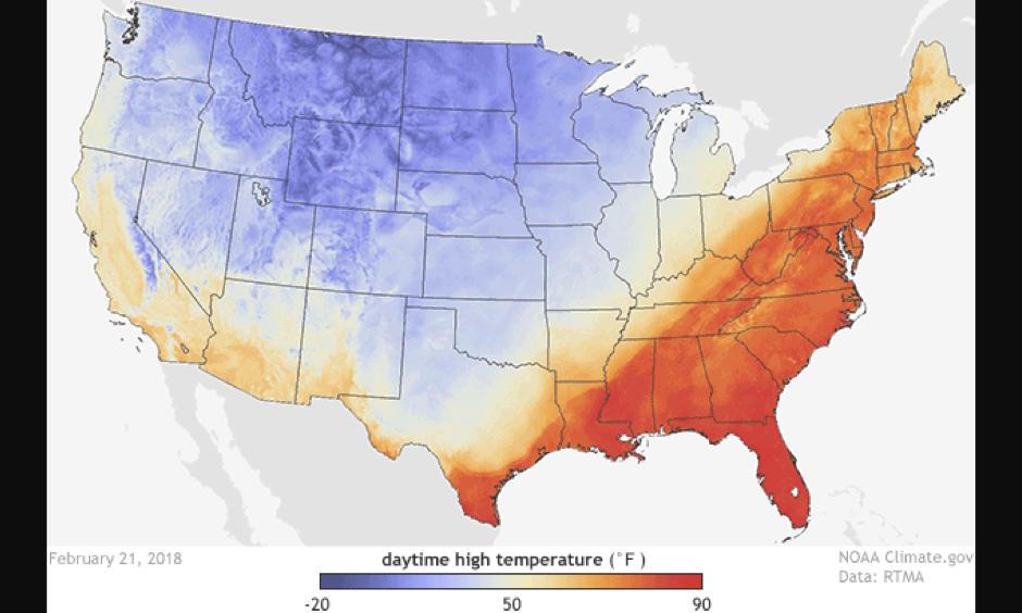 High temperatures across the United States on February 21, 2018 according to data from NOAA's Real-Time Mesoscale Analysis (RTMA). Summer-like temperatures were observed across the eastern United States, while the western half of the country observed below-average temperatures. Image: NOAA Climate.gov, with data provided by NOAA's Environmental Visualization Lab, based on NOAA RTMA data