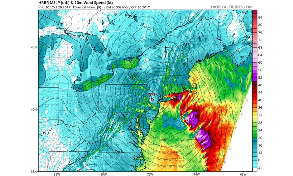Surface wind forecast valid at 1 am EDT Monday, October 30, 2017, from the 20Z (4 pm EDT) Sunday run of the HRRR model. Winds near 50 knots (58 mph, purple colors) were predicted near the eastern tip of Long Island, NY, and near the coasts of Rhode Island and Connecticut. Image: tropicaltidbits.com