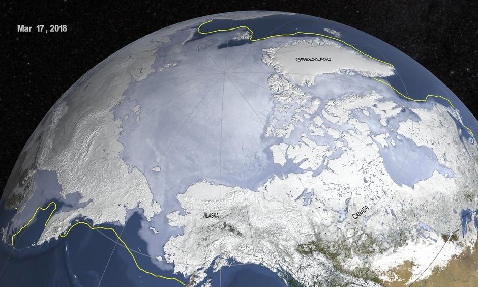 The maximum extent of Arctic sea ice, shown in the graphic above, was recorded on March 17th this year. The yellow line indicates the 30-year average maximum from 1981 to 2010. Image: NASA Scientific Visualization Studio