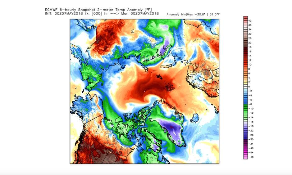 Temperature difference from normal over the Arctic analyzed by European model on May 7. Image: WeatherBell.com
