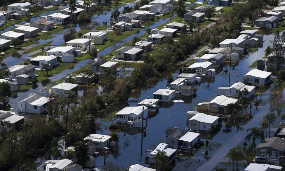 Flooded homes at Citrus Park in Bonita Springs, Florida on 16 September 2017, six days after Hurricane Irma. Photo: Nicole Raucheisen, AP