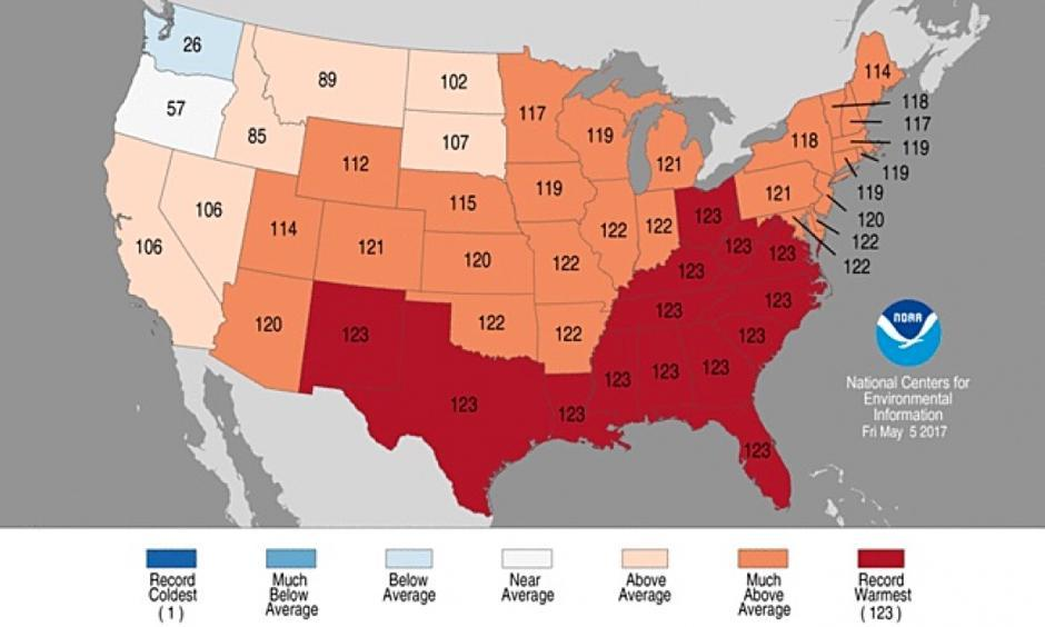 State temperature ranks for January through April 2017. Red states were record warm for the year to date. Photo: NOAA