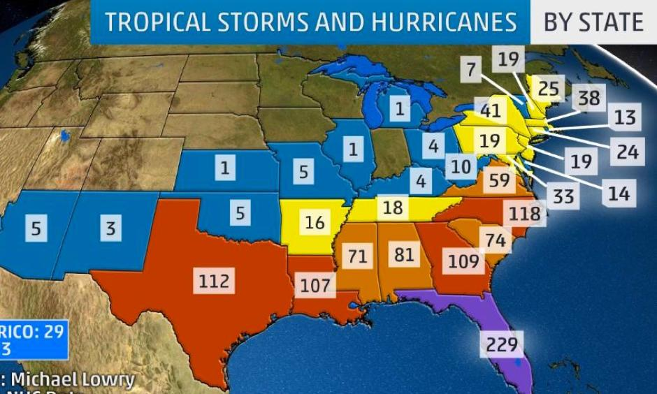 Each number represents the total number of tropical storm and hurricane centers that have tracked directly over that state's geographic boundaries. Tropical depressions are not included in the tally. Image: Weather Underground