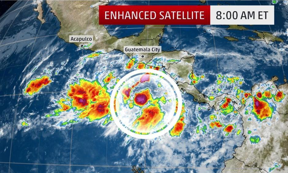 Satellite imagery over the eastern Pacific. The area circled is Invest 90E which is being monitored for development. Photo: The Weather Channel