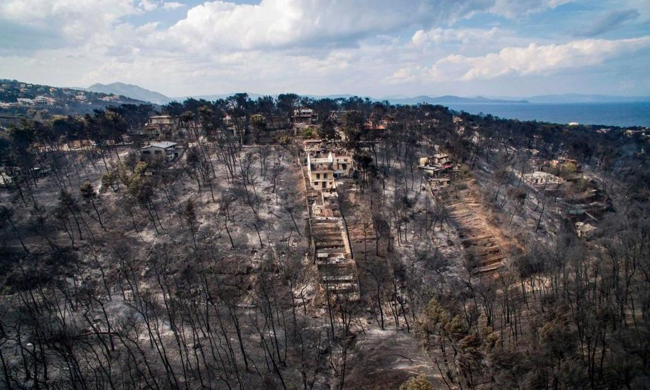 An aerial view of the damage caused by the wildfire near Mati. Photo: Savas Karmaniolas, Agence France-Presse, Getty Images