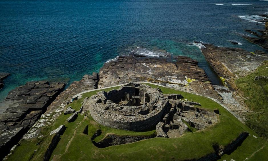 Midhowe Broch, defended by a sea wall. Photo: The New York Times