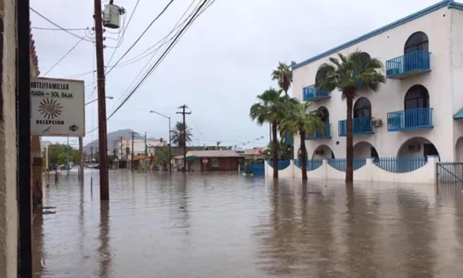 Streets flooded in Felipe, in the state of Baja California, Mexico, on Oct. 1, 2018. Photo: EPA-EFE