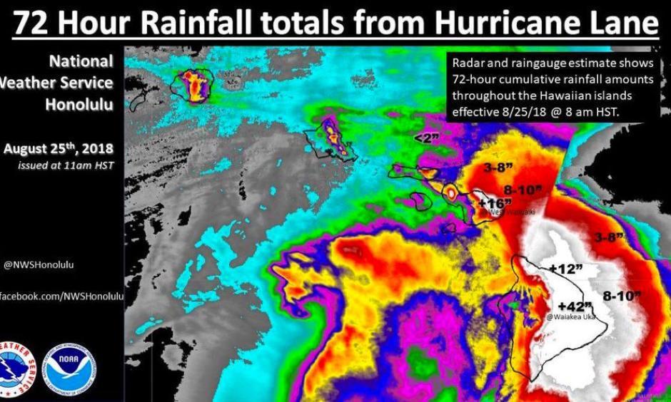 3-day rainfall totals in Hawaii from Hurricane Lane. Image: NOAA/NWS Honolulu