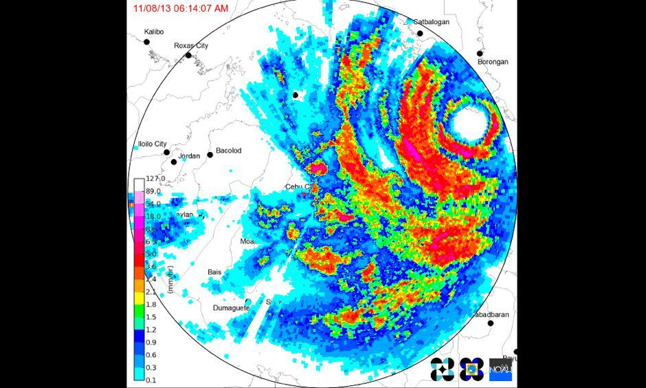 Radar image of Super Typhoon Haiyan shortly after landfall, at 6:14 am local time on November 8, 2013. Image credit: http://climatex.ph