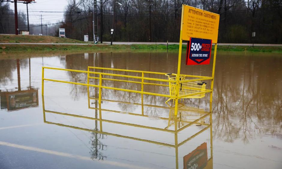 Middle Valley Plaza is seen flooded in Soddy-Daisy, Tenn., Saturday, Feb. 23, 2019, after heavy rain overnight. Homes, highways, parks and bridges throughout the South have been flooded or rendered out of commission Saturday, as the toll of days of drenching rains swelled waterways and pooled over saturated lands amid the threat of severe storms. Photo: Doug Strickland, Chattanooga Times Free Press via AP