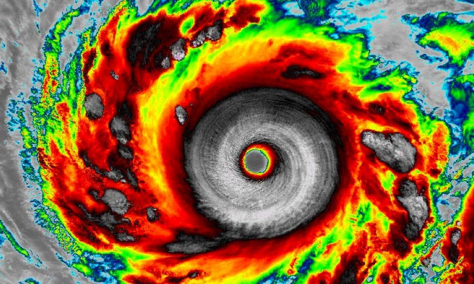 Infrared VIIRS image of Super Typhoon Vongfong as seen at 17:03 UTC (1:03 pm EDT) on October 7, 2014. At the time, Vongfong was a peak-intensity Category 5 storm with 180 mph winds. Image: Dan Lindsey, NOAA/NASA and RAMMB/CIRA.
