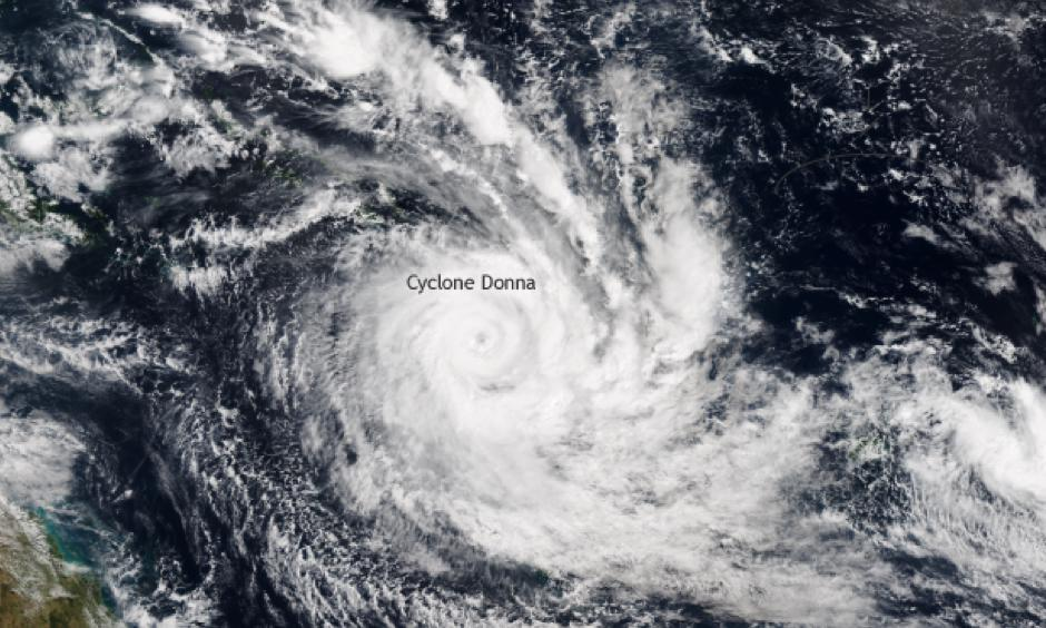 NOAA/NASA Suomi NPP satellite image taken on May 5, 2017 of tropical cyclone Donna in the South Pacific. At peak strength on May 7, tropical cyclone Donna was a category 4 storm with 115 knot winds. Photo: Climate.gov via NOAA's Environmental Visualization Laboratory