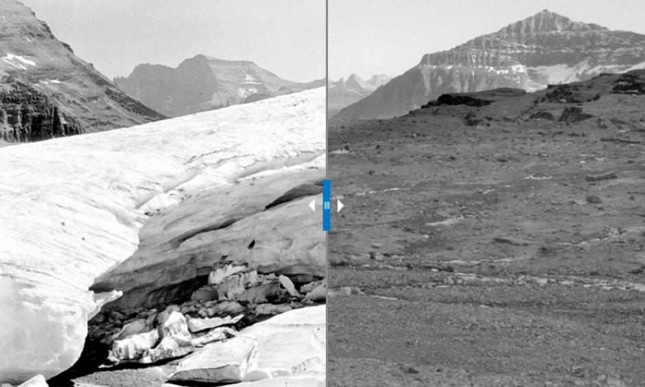 Boulder Glacier with visitors in 1932 and bare land in 1988. The ice has shrunk so much that it's no longer considered an active glacier. Photo: George Grant, Glacier National Park (left); Jerry De Santo, University of Montana (right)
