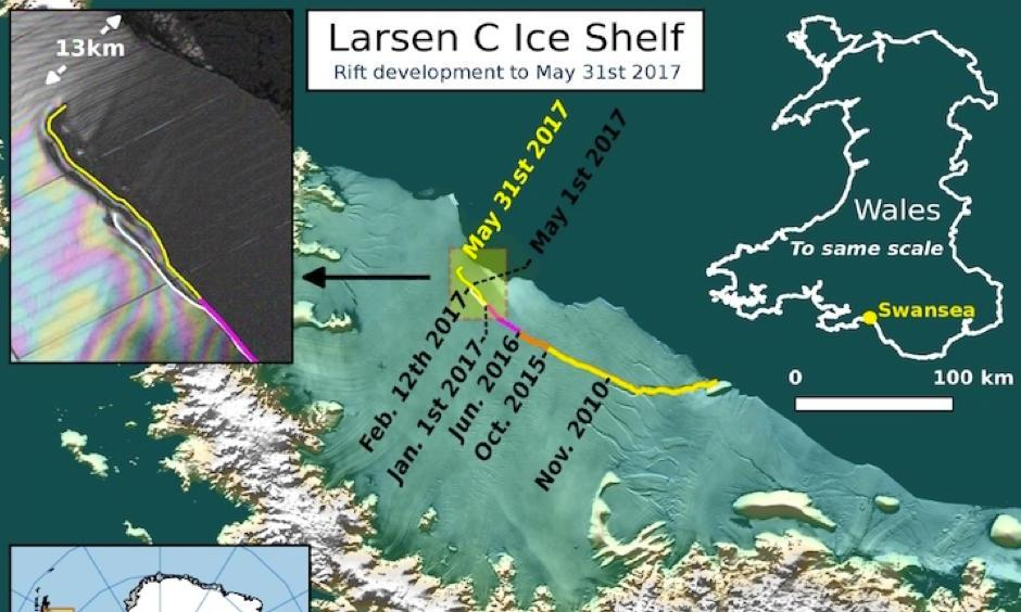 The current location of the rift on Larsen C, as of May 31 2017. Image: Project MIDAS