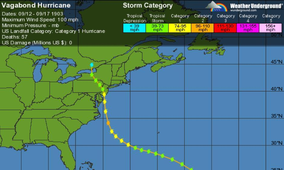 The path of the 1903 Vagabond Hurricane, the only other hurricane to hit New Jersey since 1851. Image: Weather Underground