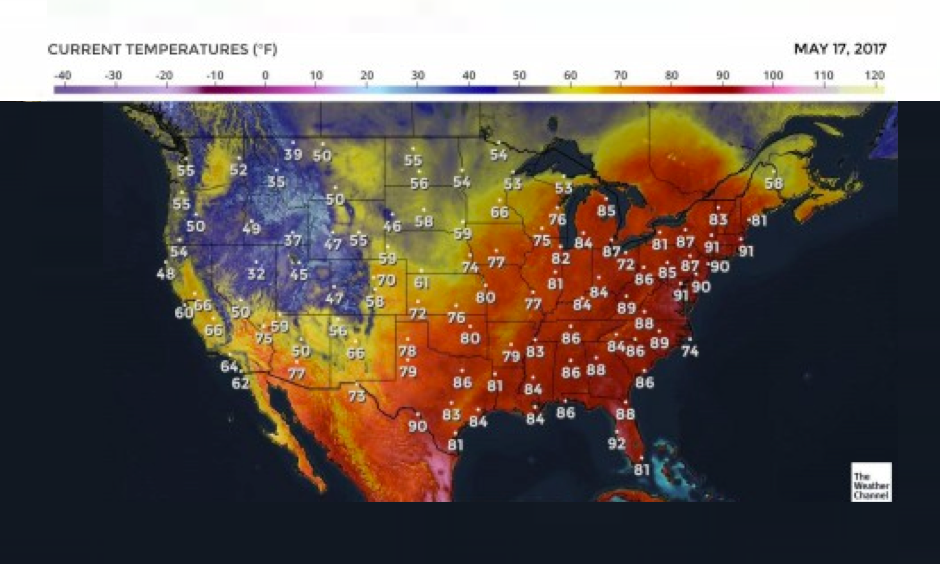 3 p.m. temperatures on May 17, 2017. Image: Weather.com