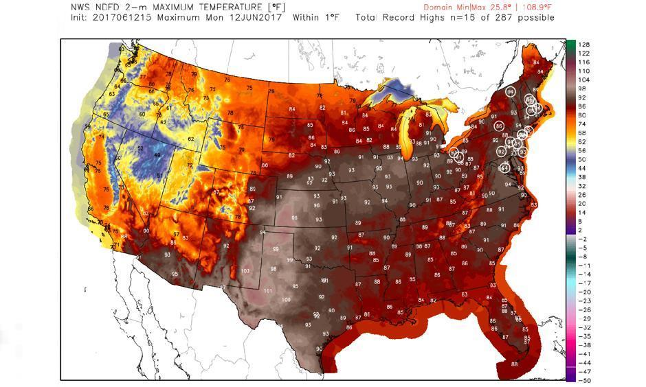 Forecast high temperatures on Monday, with potential records circled. Image: Weatherbell Analytics