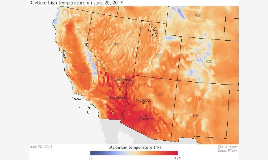 High temperatures across the southwestern United States on June 20, 2017 according to data from NOAA's Real-Time Mesoscale Analysis (RTMA). Temperatures reached 125°F at Needles, California and 117°F in Las Vegas, Nevada. Image: Climate.gov