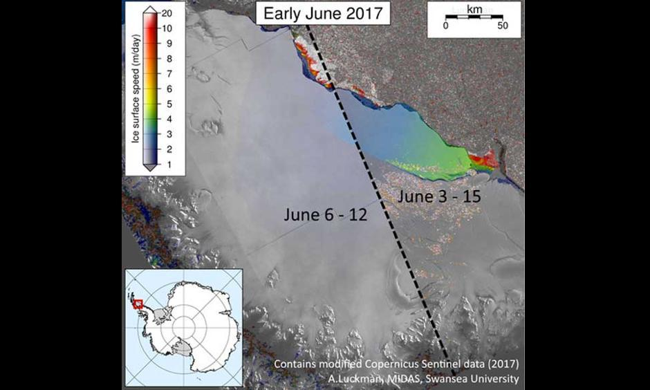 Ice on the back end of the Larsen C crack is moving faster than it ever has before in another sign that calving is imminent. The images show ice shelf movement on the ocean side of the rift in early June (left) compared to late June (right). Image: Project MIDAS