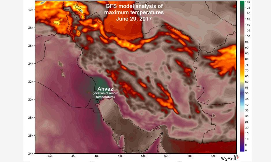 GFS weather model analysis of maximum temperatures in the Middle East Thursday afternoon. Image: WeatherBell.com