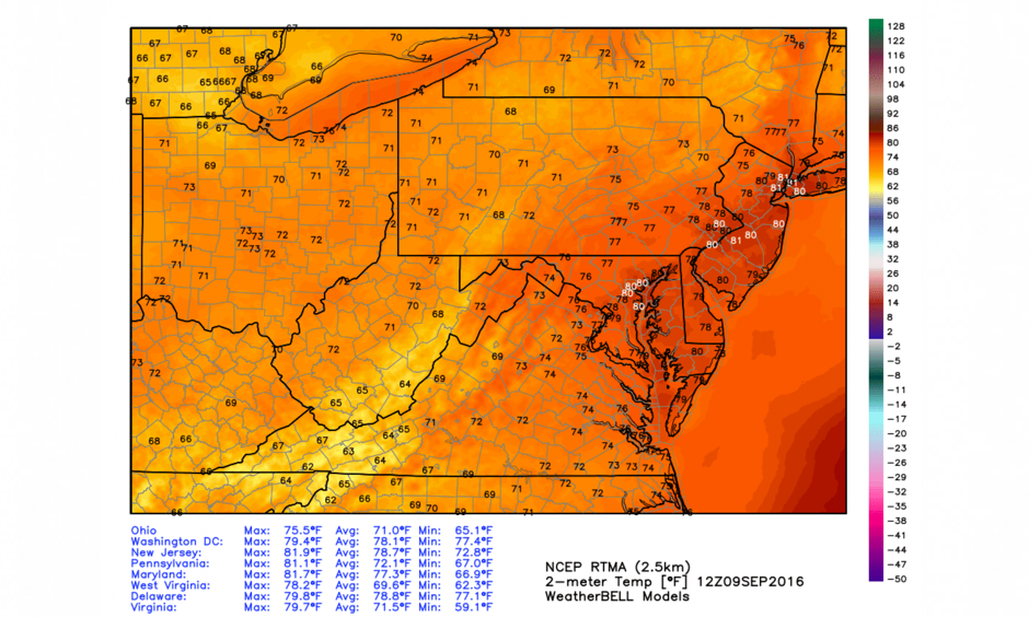 Temperature analysis at 8 a.m. Friday, Sept. 9. Image: WeatherBell.com