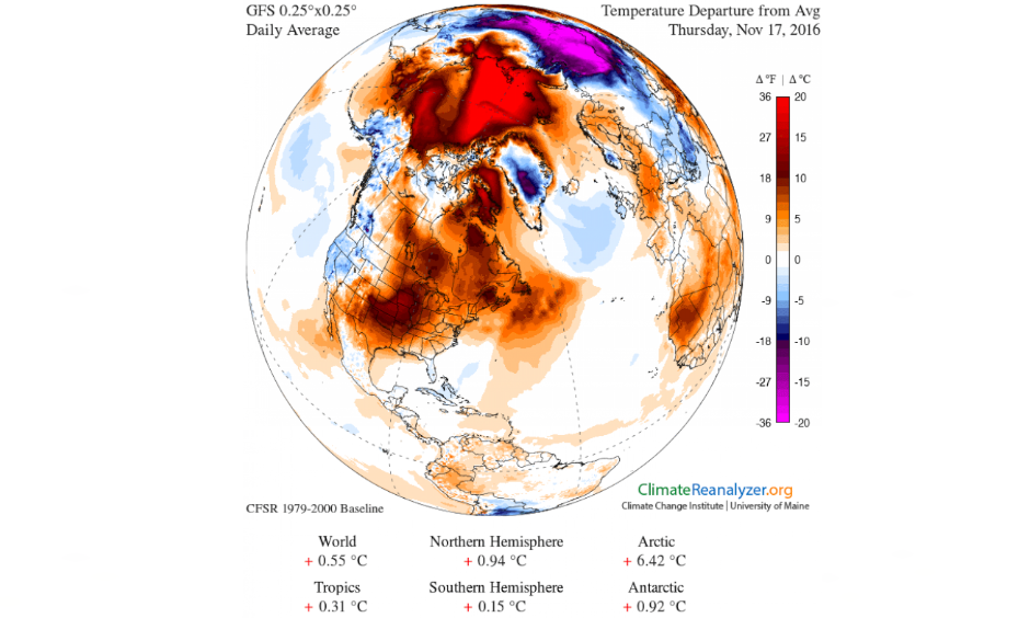 Image obtained using a climate reanalyzer. Image: Climate Change Institute/University of Maine