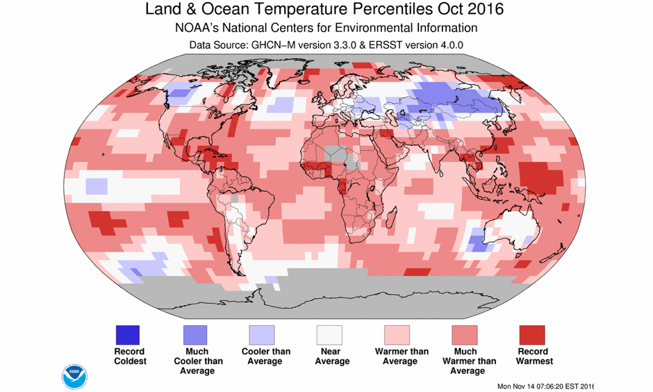 Departure of temperature from average by region for October 2016, the third warmest October for the globe since record keeping began in 1880. Image: NCEI