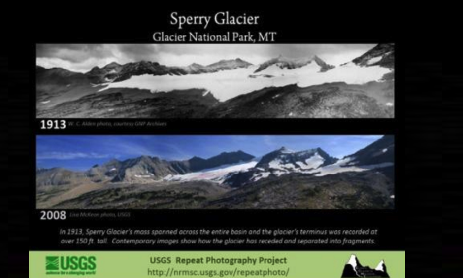 "The ""Repeat Photography Project"" performed by U.S. Geological Survey researchers demonstrates how the glaciers in Glacier National Park have shrunk down through the decades."