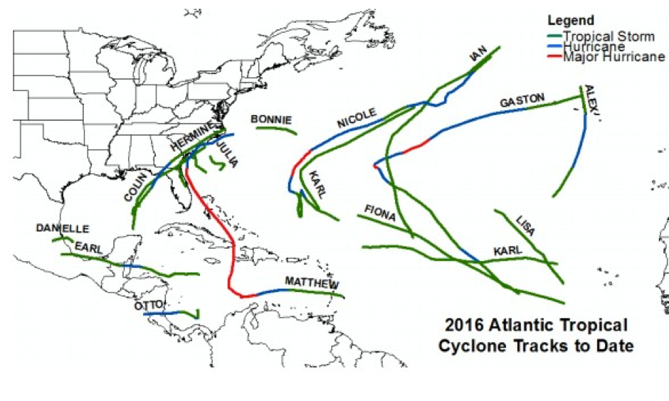 Atlantic basin tropical cyclone tracks in 2016. Image: CSU